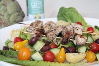 Greek Salad with PRIMAL KITCHEN™ Greek Vinaigrette Chicken Skewers